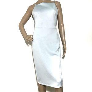 ASOS Light Blue Midi Bodycon Open Back Dress Sz 6
